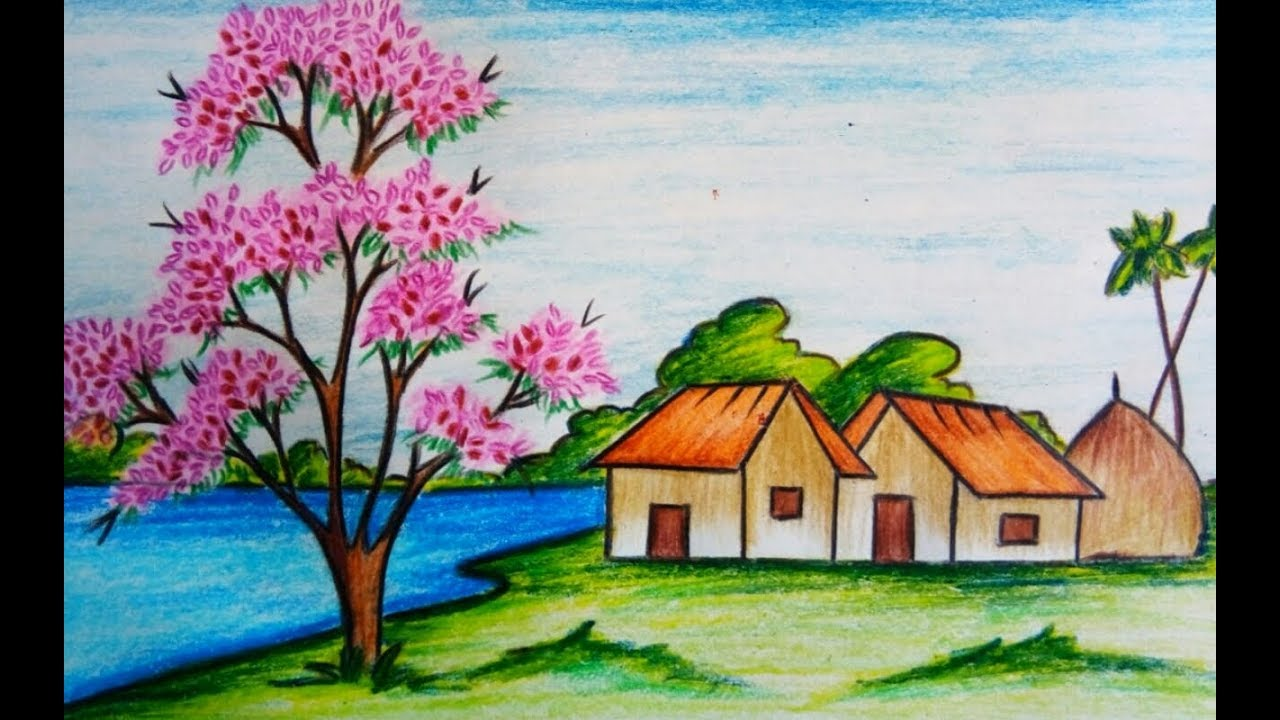 1280x720 How To Draw Scenery Of Spring Season Step By Step ( Easy Drawing