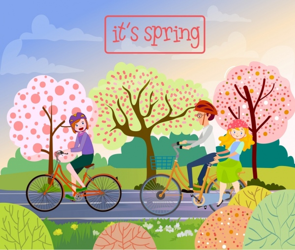 600x509 Flowers Spring Drawing Family Riding Bicycle Colored Cartoon Free