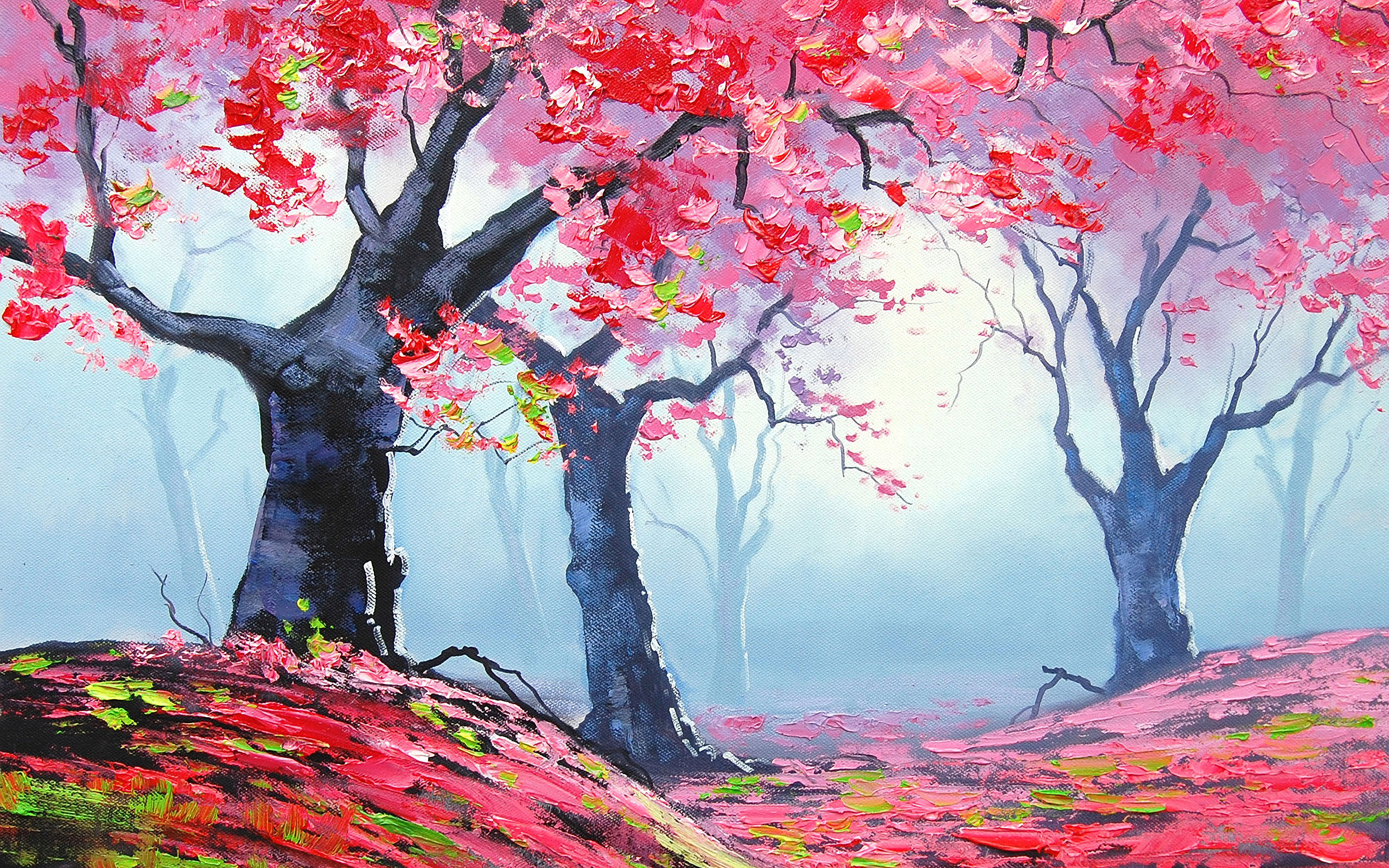 2560x1600 Spring Landscape Drawing Spring Trees Drawing Wallpapers