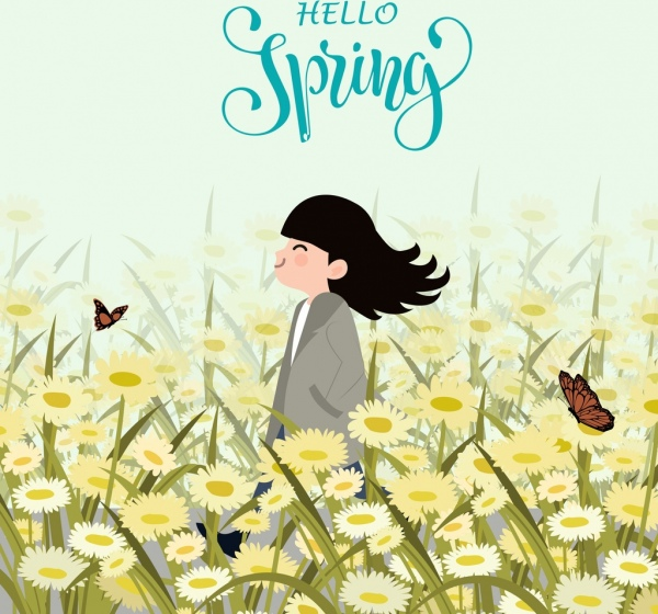 600x560 Spring Drawing Girl Flower Field Icons Colored Cartoon Free Vector