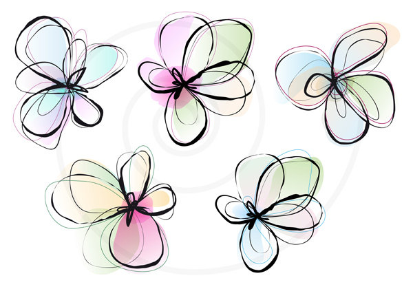 Spring flower drawing at getdrawings free for personal use 600x420 abstract spring flowers digital clip art set ink drawing mightylinksfo