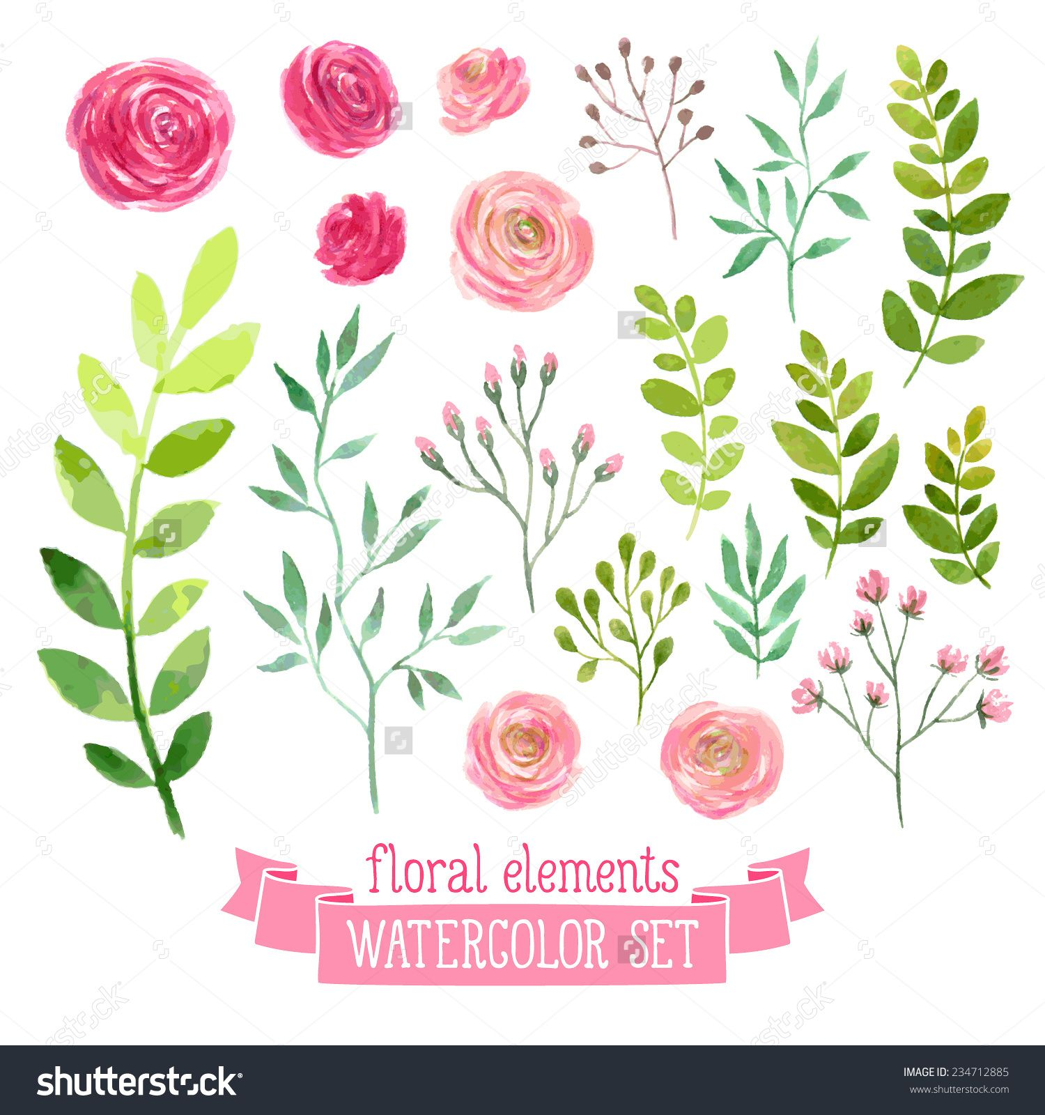 1500x1600 Vector Floral Set. Colorful Floral Collection With Leaves