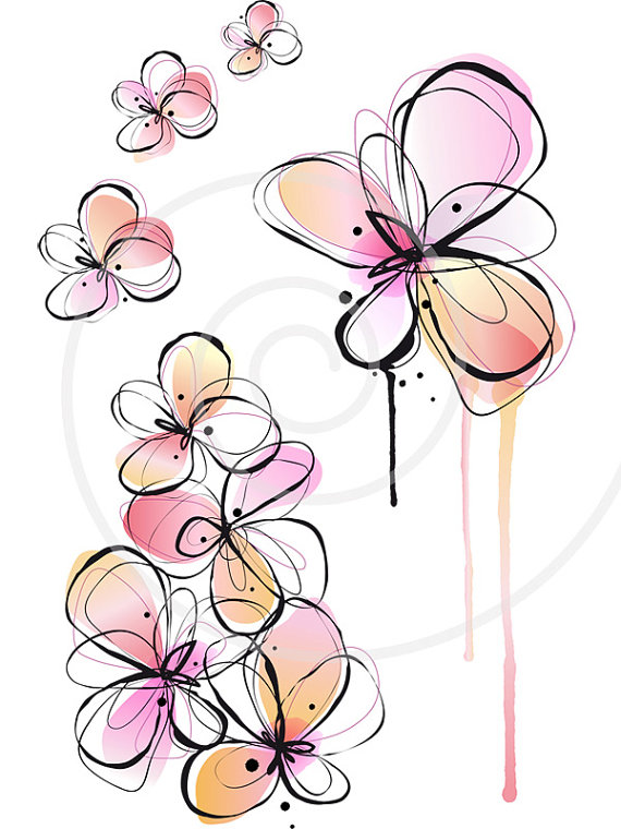 Spring flowers drawing at getdrawings free for personal use 570x760 abstract spring flowers digital clip art floral clipart ink mightylinksfo