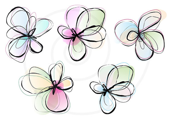 Spring flowers drawing at getdrawings free for personal use 570x399 abstract spring flowers digital clip art set ink drawing mightylinksfo
