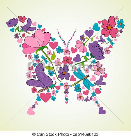 Spring flowers drawing at getdrawings free for personal use 450x470 beautiful spring flowers butterfly shape colorful flower mightylinksfo