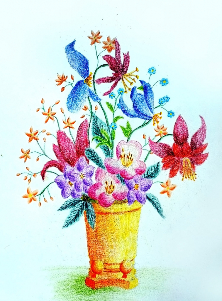 757x1024 Colourful Flowers Drawing With Flower Vase Spring Flowers Painting