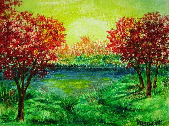 570x427 Autumn Landscape, Small Drawing, Original Oil Pastel Art, Wall Art