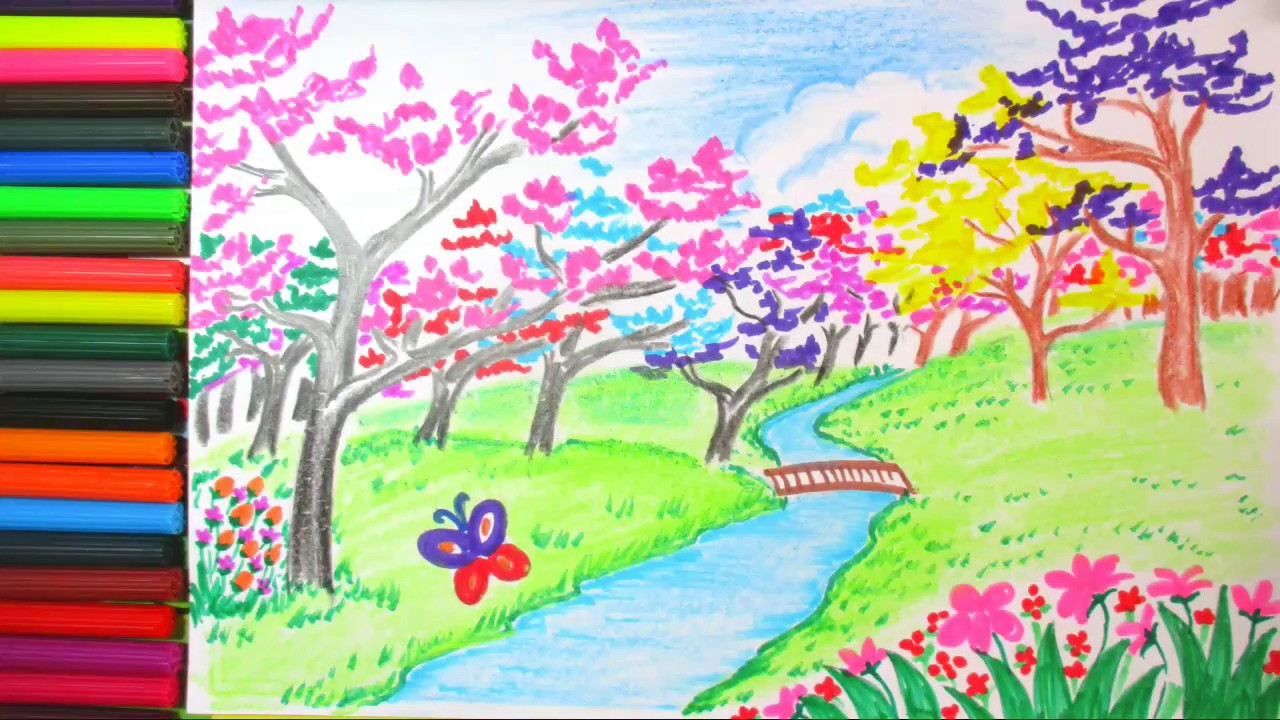 1280x720 Drawing Spring Season And Cherry Blossom Flower Scenery Drawing