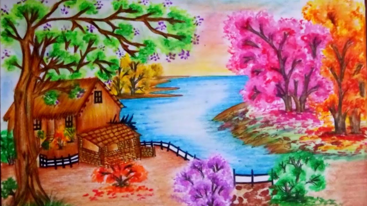1280x720 How To Draw Spring Season Scenery Step By Step Spring Season