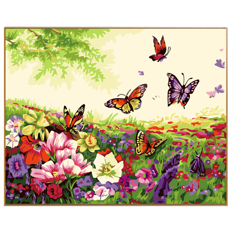 800x800 Phkv Spring Landscape Flowers And Butterflies Drawing On Canvas