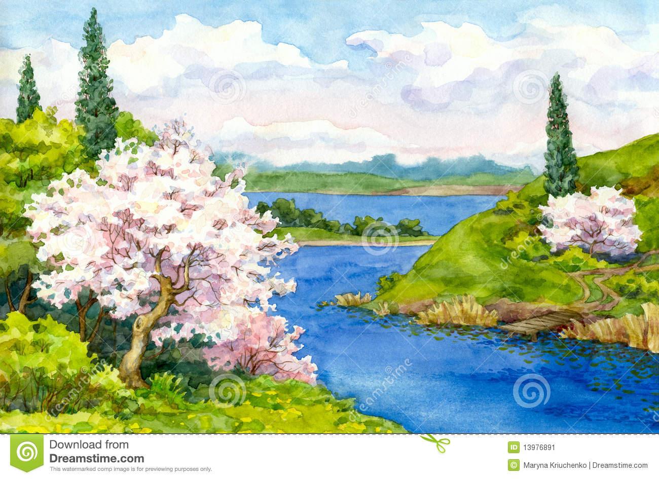 1300x945 Spring Landscape Drawing
