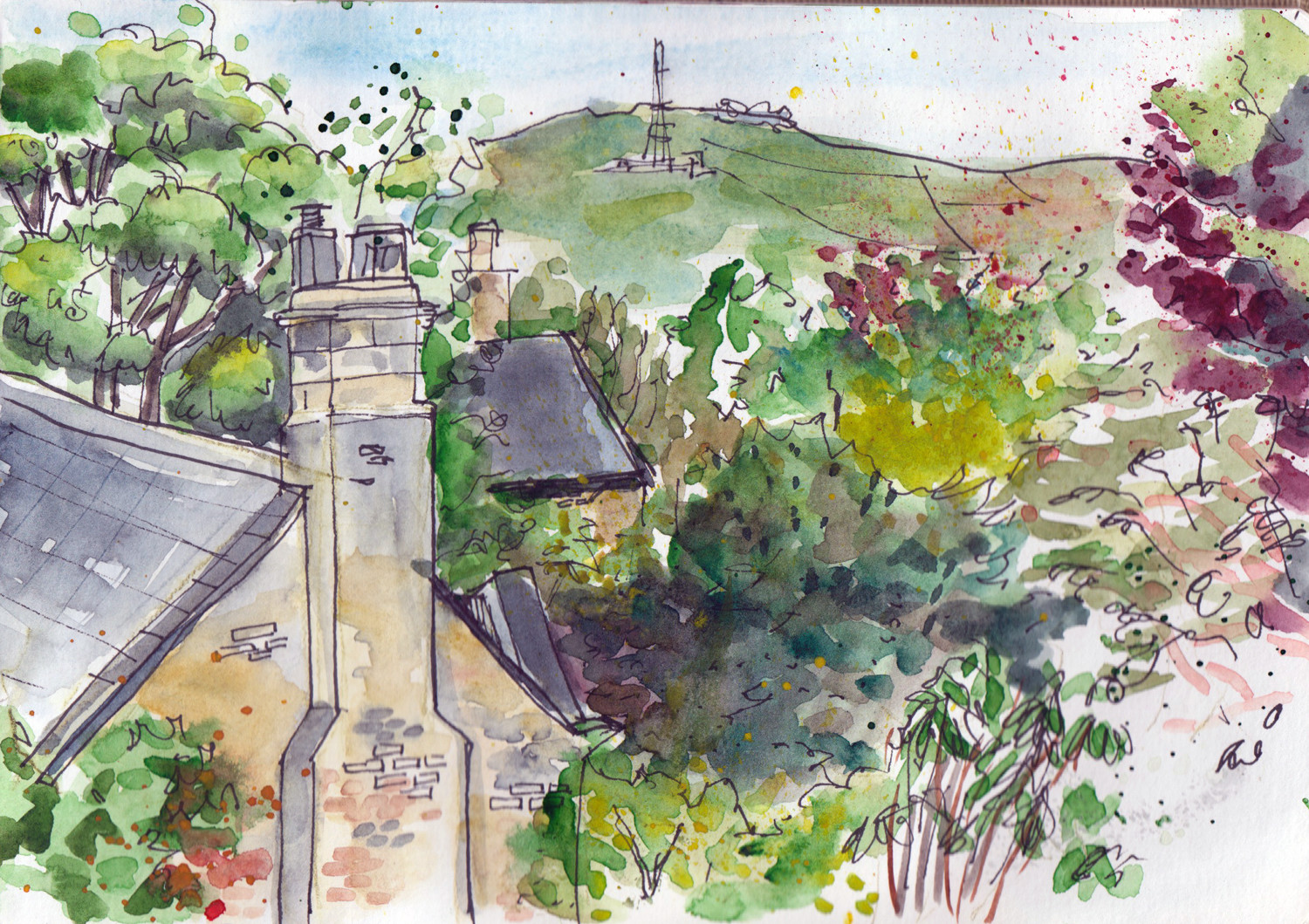 1500x1059 Spring Landscape Drawings And Watercolour Paintings By Sophie Peanut