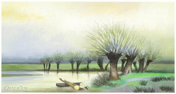600x320 Spring A Landscape Speedpaint Drawing By Taneman