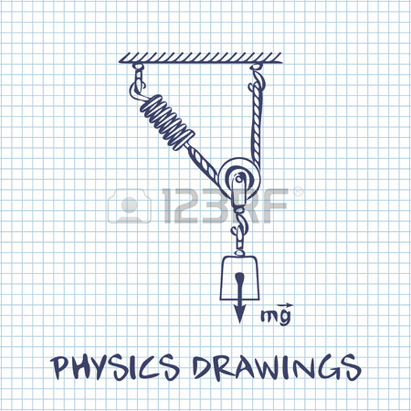 450x450 Loaded Dynamometer Scale Physics Drawing On White Squared Paper