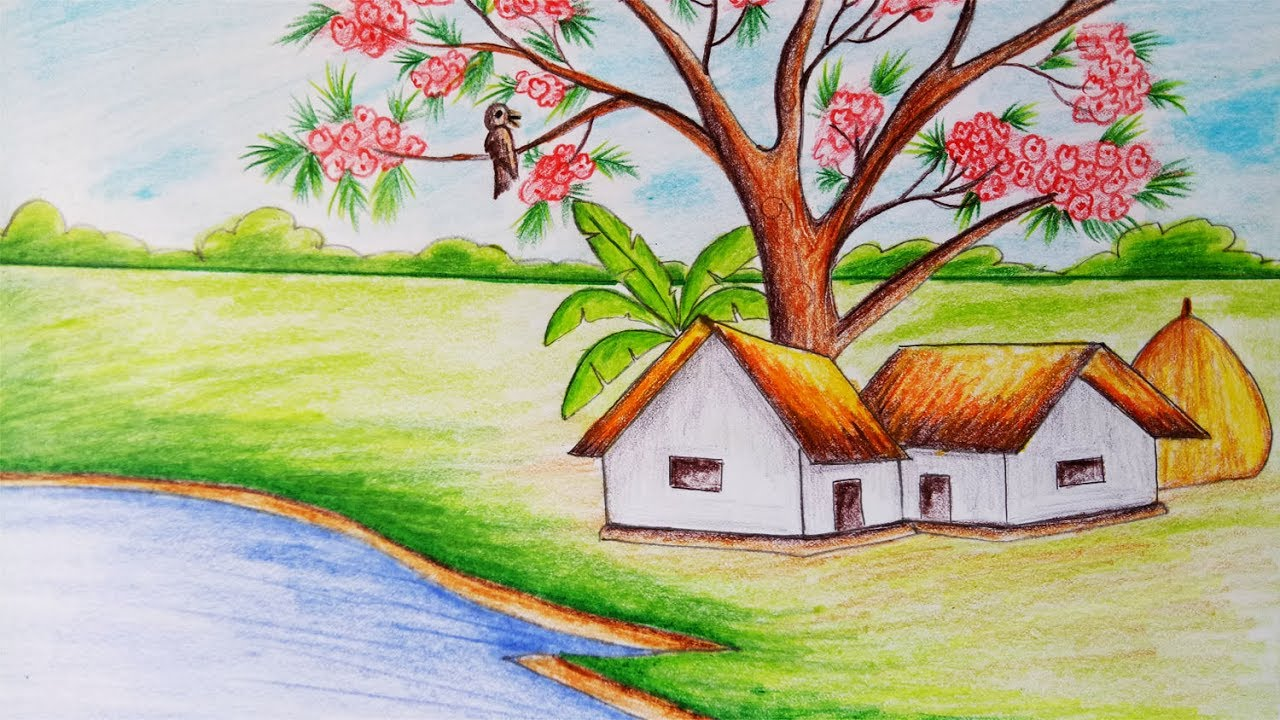 1280x720 How To Draw Scenery Of Spring Season.step By Step(Easy Draw)