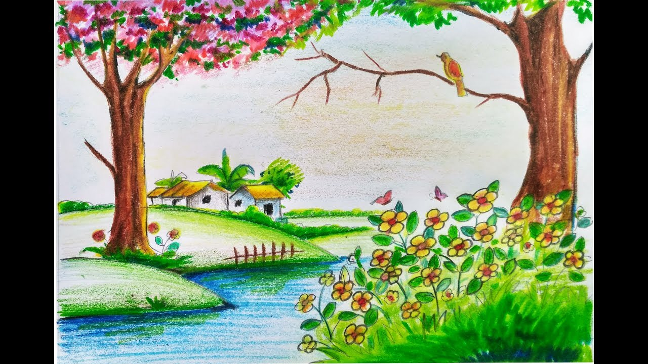 1280x720 Sketch Of Nature Spring How To Draw Scenery Of Beautiful Spring