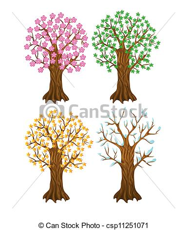 384x470 Set Of Autumn,winter, Summer And Spring Tree, With Isolation