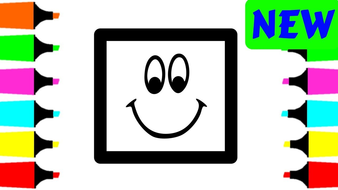 1280x720 Coloring Pages Happy Squares For Kids