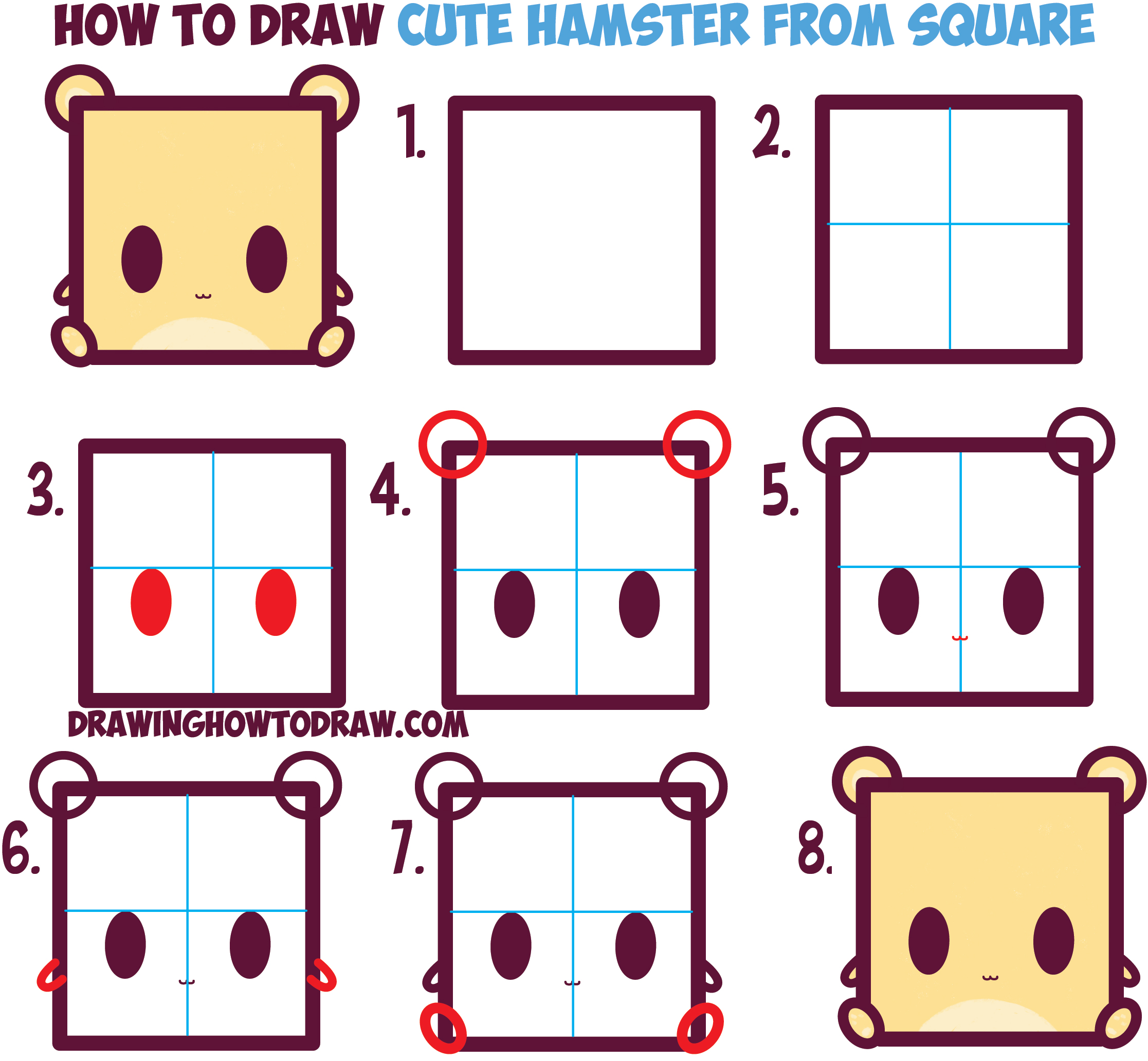2233x2064 How To Draw Cute Kawaii Cartoon Baby Hamster From Squares