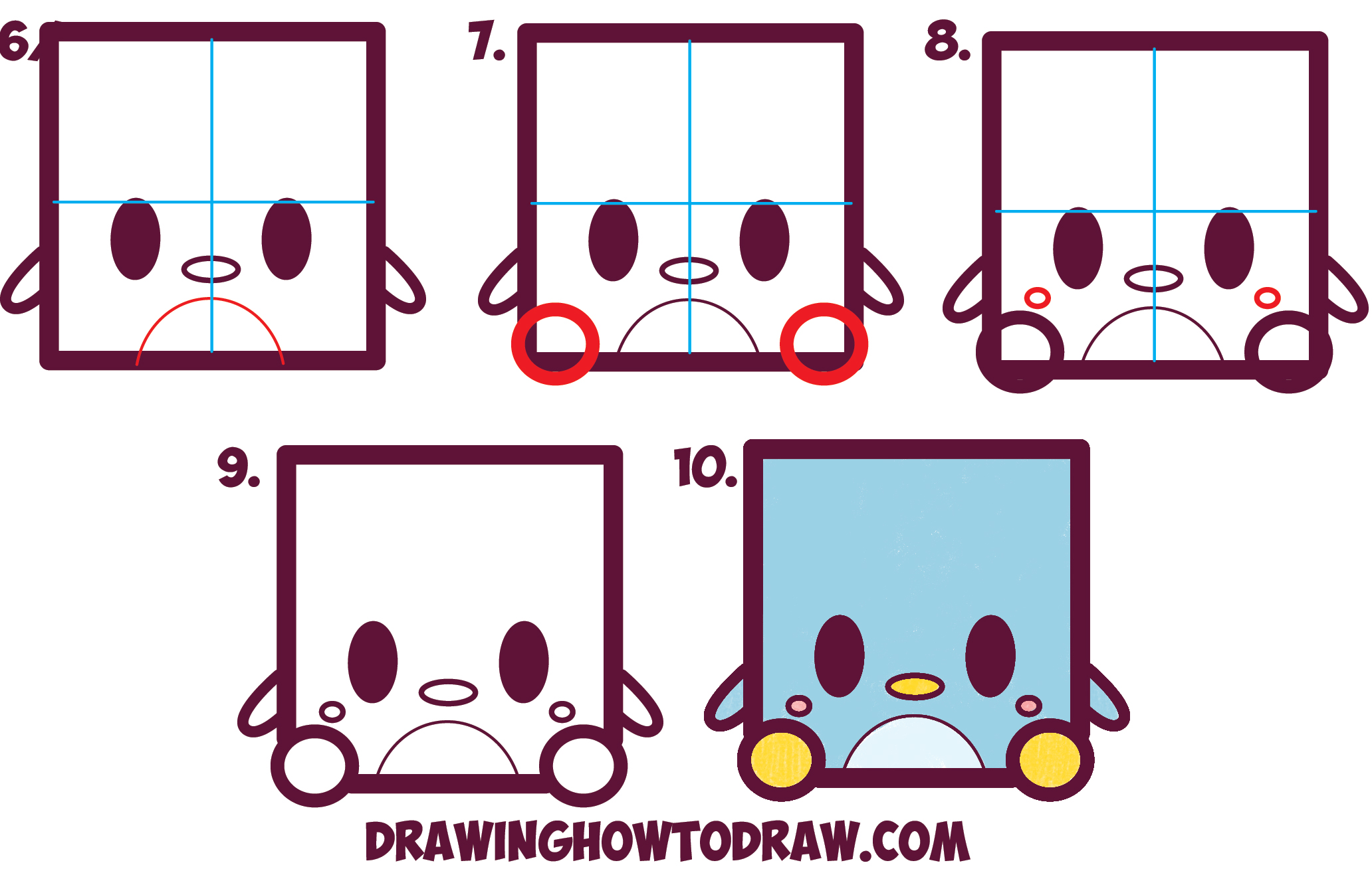 2064x1329 How To Draw Cute Kawaii Cartoon Baby Penguin From Squares