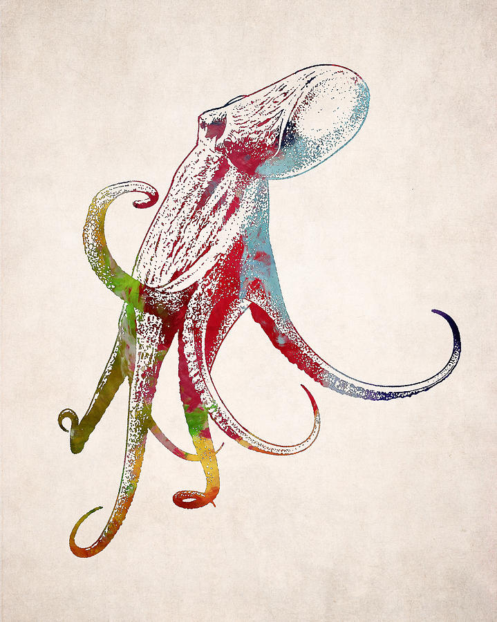 719x900 Giant Octopus Squid Drawing Digital Art By World Art Prints