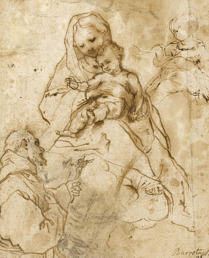 728x900 Virgin And Child With Saint Francis Drawing By Federico Fiori
