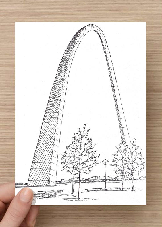 570x798 Ink Sketch Of St Louis Arch In Missouri Jefferson Expansion