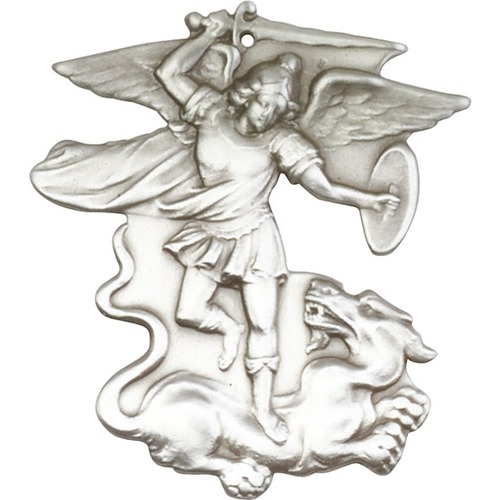 500x500 Antique Silver St. Michael The Archangel Keychain The Catholic