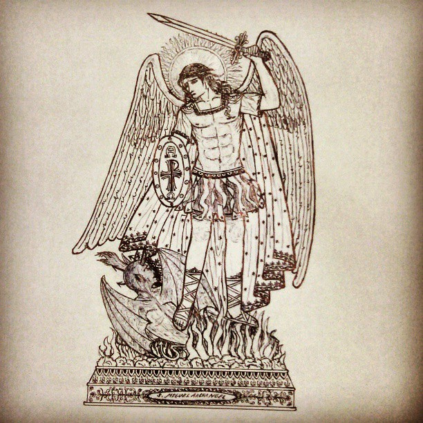 612x612 St. Michael The Archangel. Partialy Done. Ink Drawing.