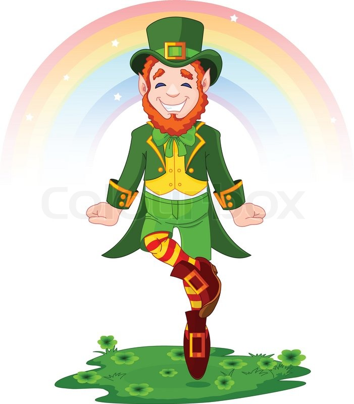 701x800 Full Length Drawing Of A Leprechaun Dancing A Jig For St