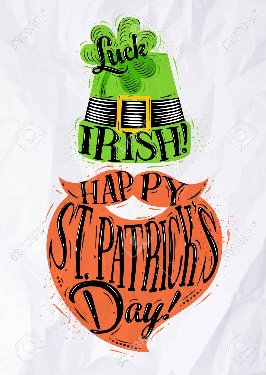 924x1300 Poster St Patrick Hat And Beard Lettering Luck Irish Happy St
