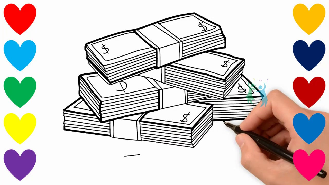1280x720 How To Draw Stack Of Money For Baby. Drawings And Coloring Book