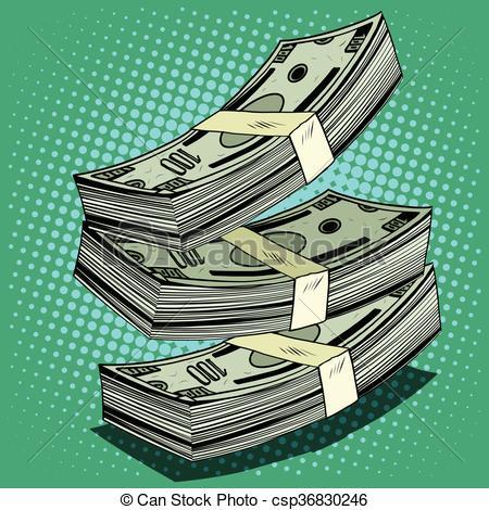 450x470 Stack Of Money Dollar Bills Cash Pop Art Retro Style Eps Vector