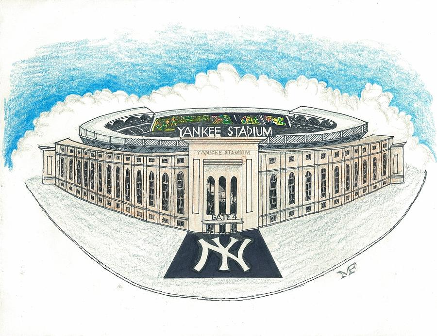 900x693 Stadium Drawing By Marty Fuller