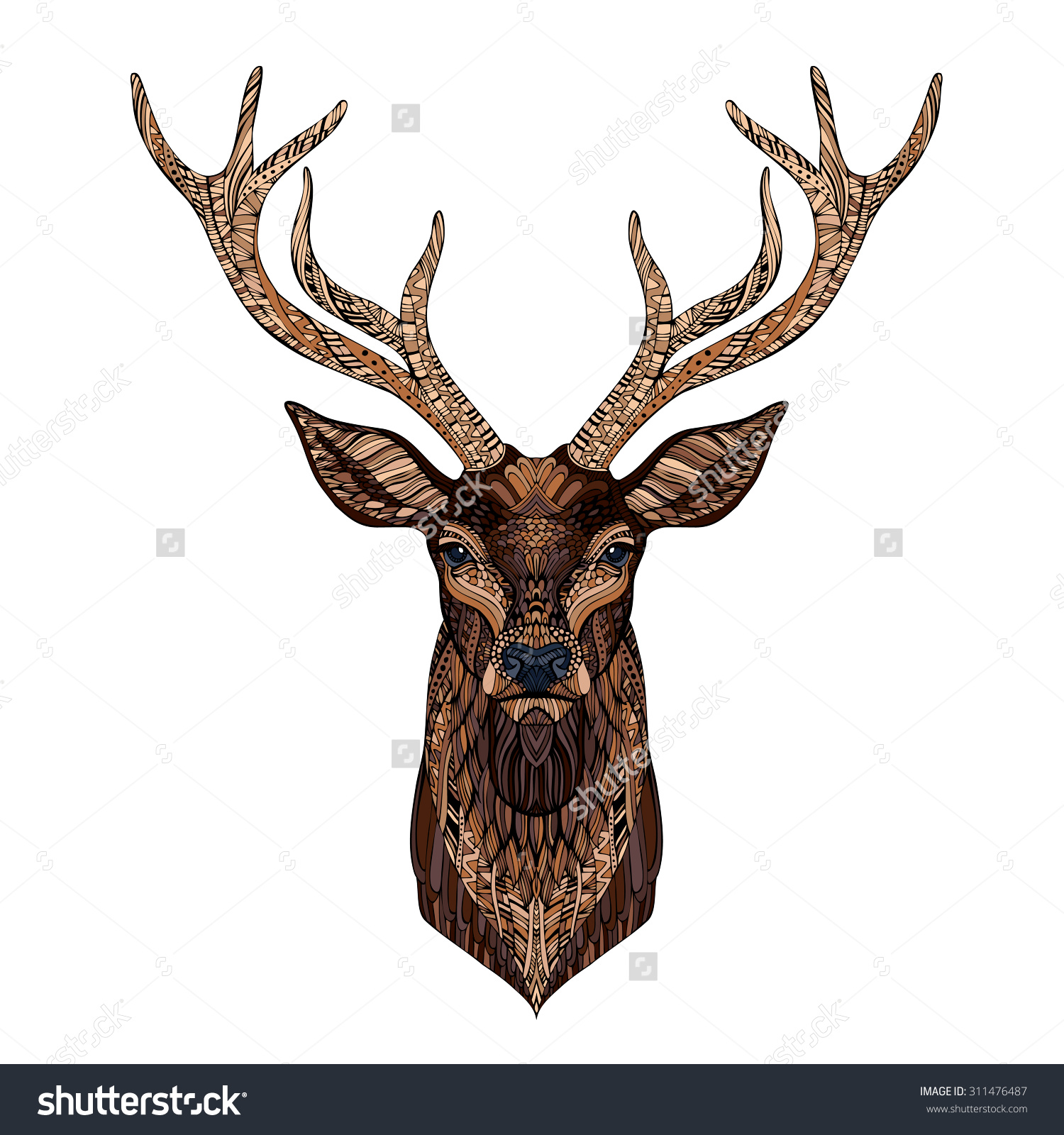 1500x1600 Stag Antlers, Darkness And Stag Head
