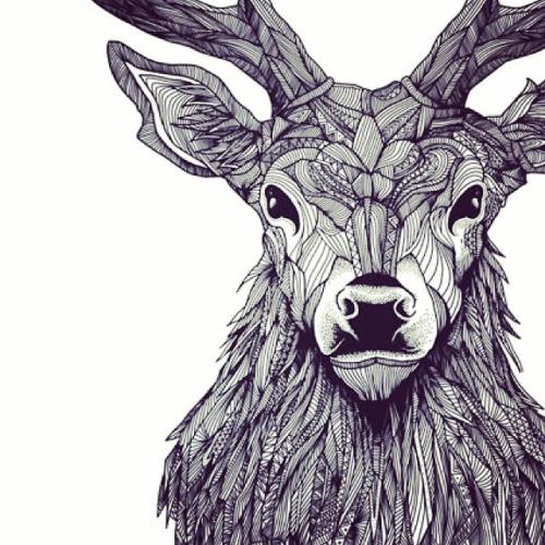 500x500 Deer Front Drawing