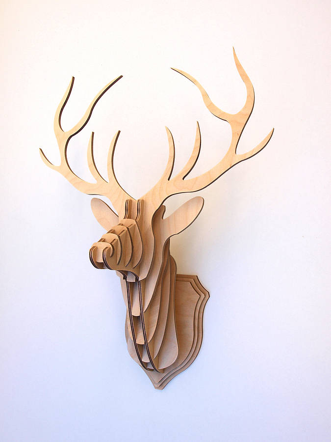 675x900 Wooden Deer Head Wall Trophy By Clive Roddy