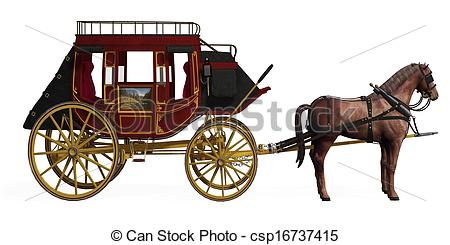 450x245 Stagecoach With Horses Clipart