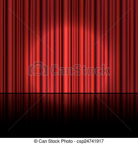 450x470 Spotlight On Stage Curtain. Vector. Vector Clip Art