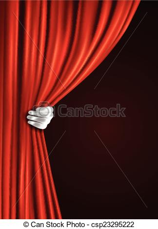 324x470 Theater Curtain With Hand. Theater Stage Red Velvet Open Vector
