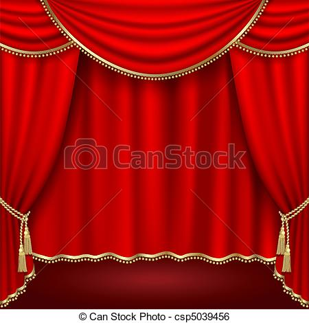 450x470 Theater stage with red curtain. clipping mask clip art vector