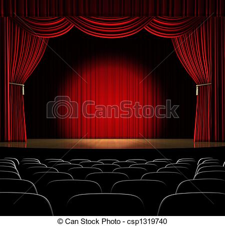450x453 In The Spot Light. Theatre Stage With Red Curtain And Stock