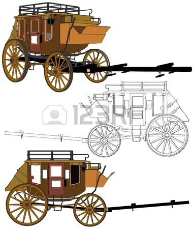 382x450 A Typical Estern Stage Coach Drawing Over A White Background