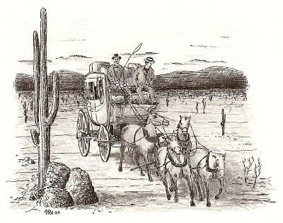 400x315 Original Drawings Stagecoach In The Desert