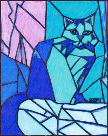 360x453 Ice Cat Stain Glass Drawing Bztat Lr1.jpg Bztat Studios Pet