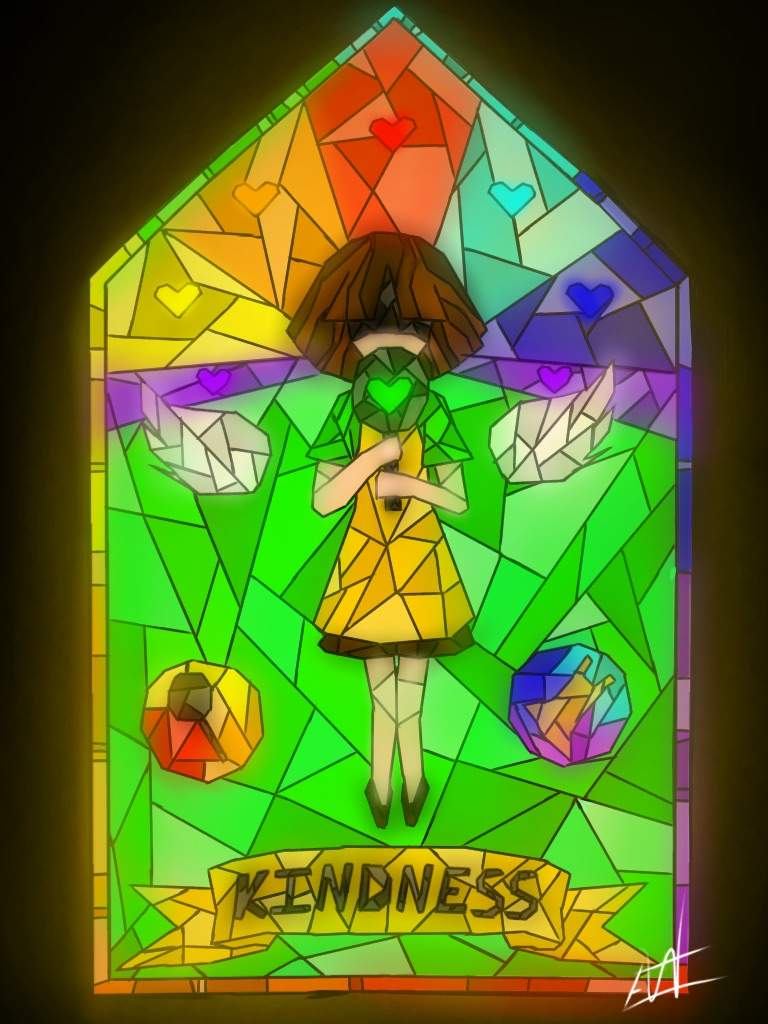 768x1024 Kindness Stained Glass Drawing! Undertale So