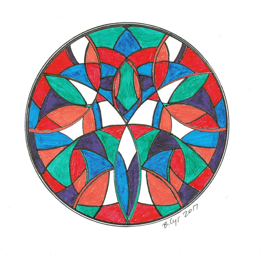 1024x1024 Multi Color Stained Glass Mandala