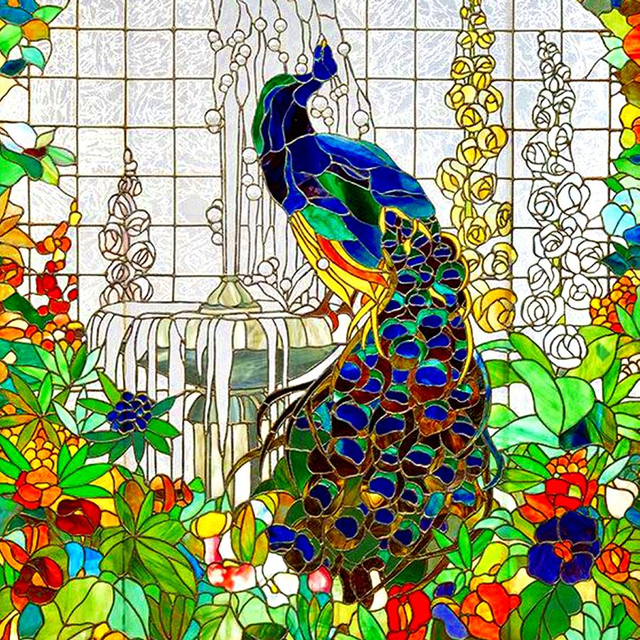 900x900 Peacock Stained Glass Digital Art By Marianne Dow