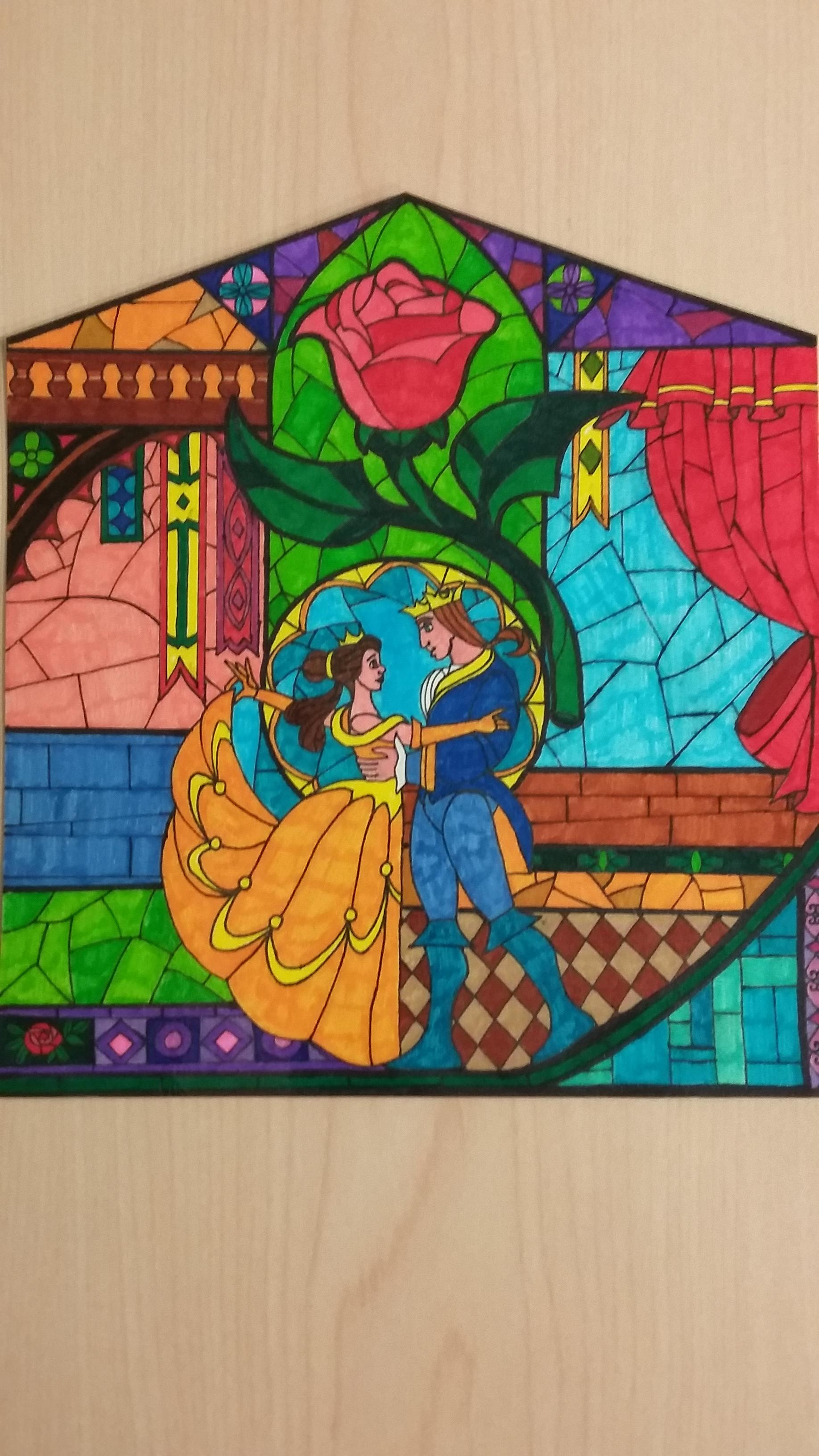 1836x3264 Beauty And The Beast Stained Glass Window Drawing