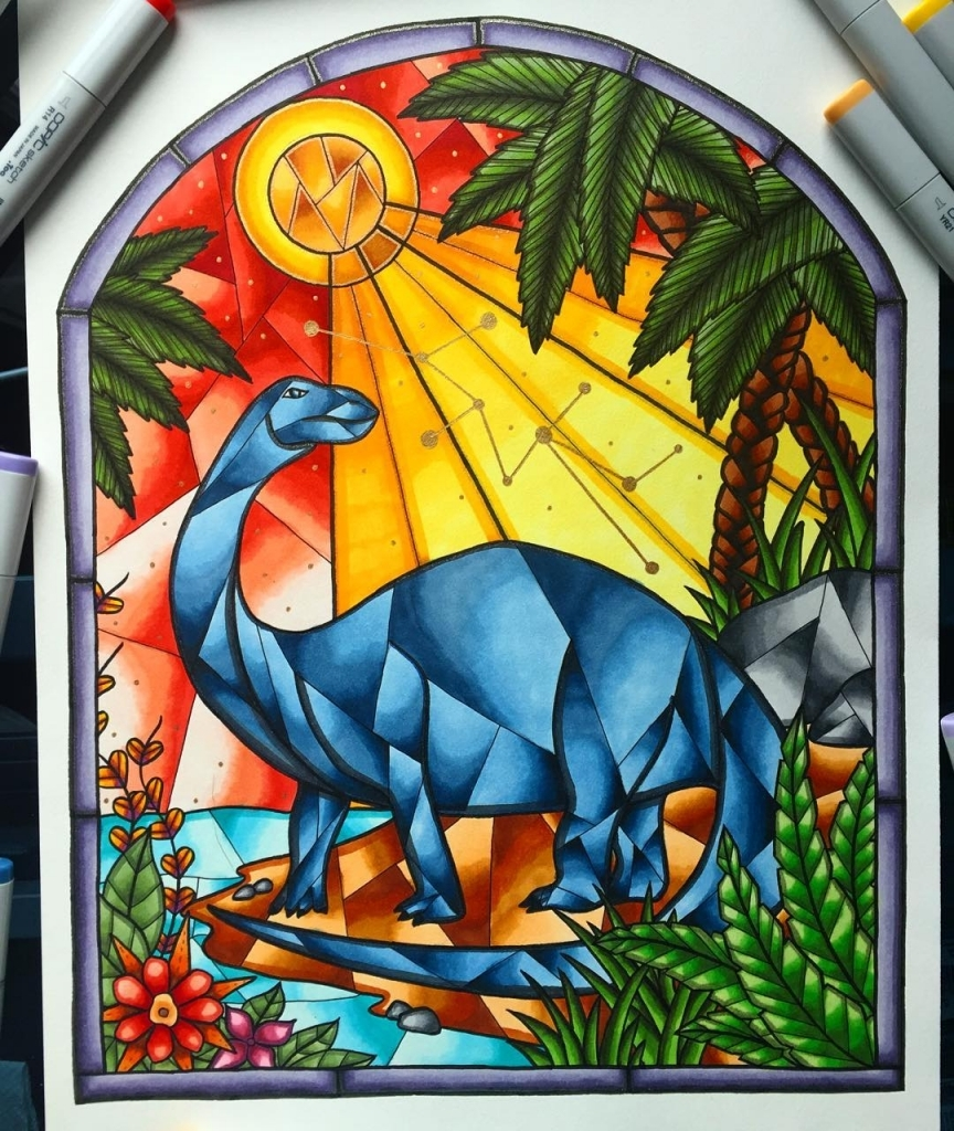 864x1024 Brontosaurus Stained Glass Window Drawing All Finished Art